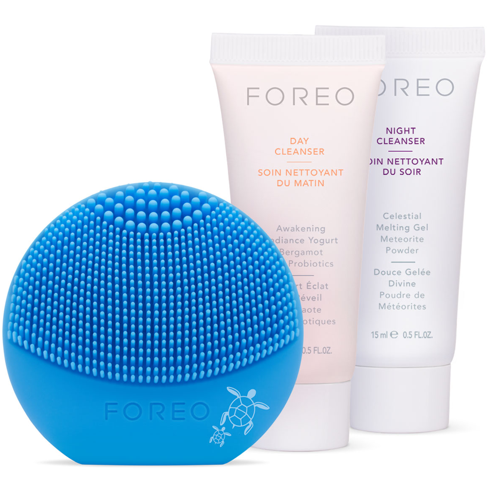 FOREO LUNA play Fun and Affordable Face Brush - Save The Sea Special Edition + 15ml Day & Night Cleansers